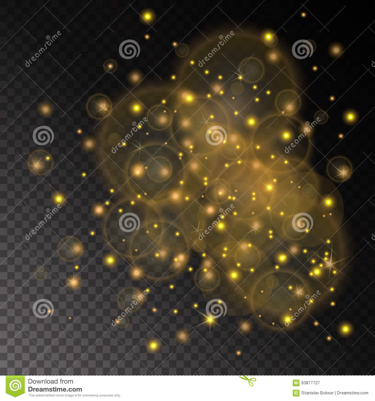 vector golden lights concept abstract on transparent chess board