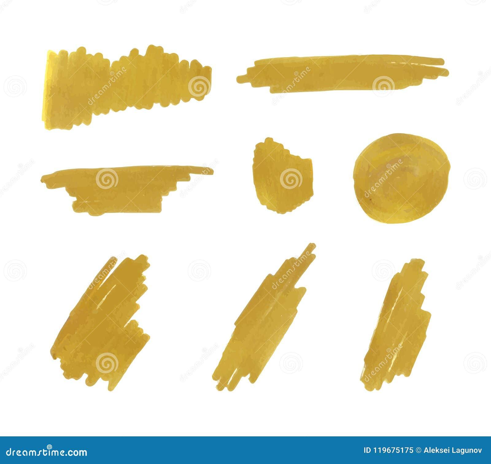 Vector Golden Marker Strokes Set, Background Gold Paint.