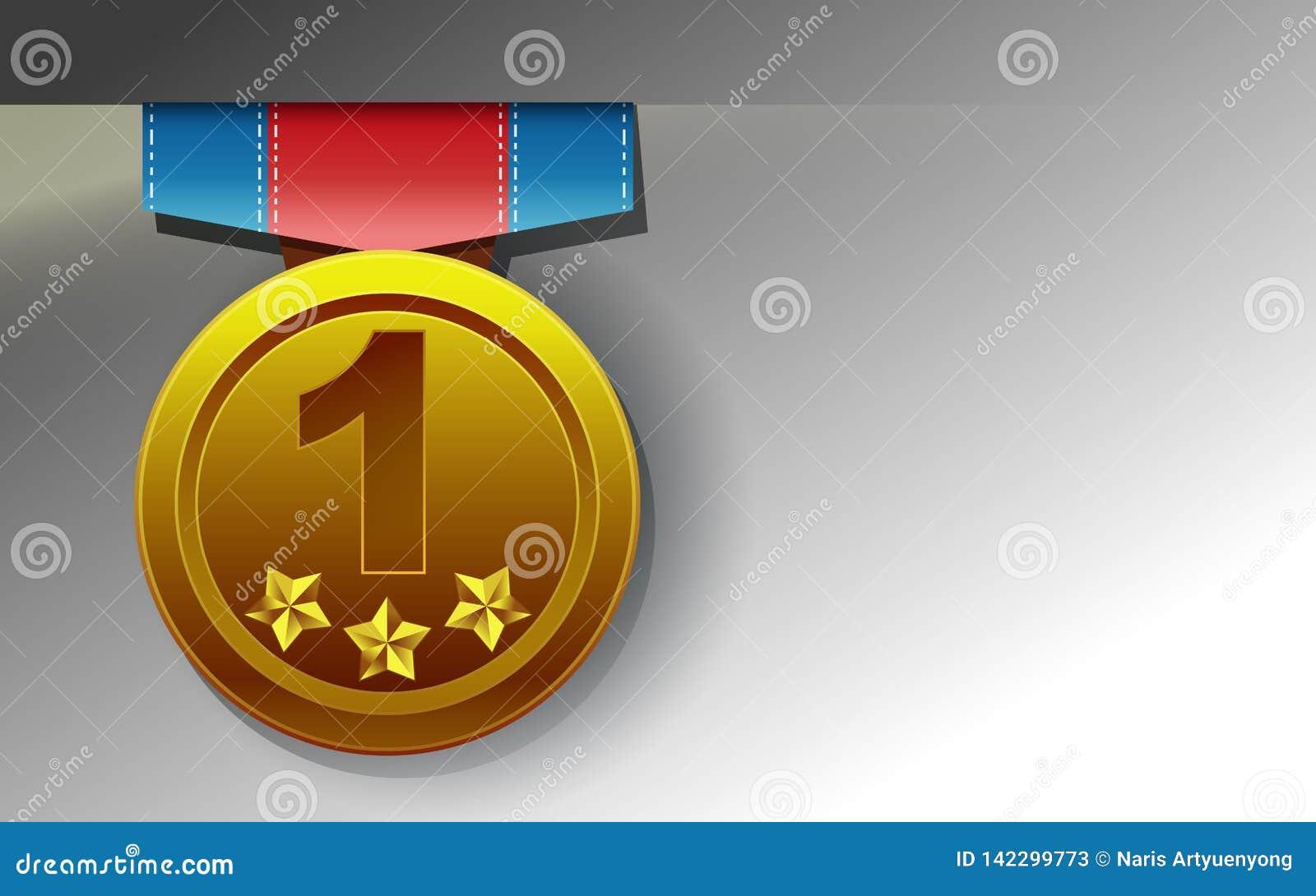Golden medal on white background.