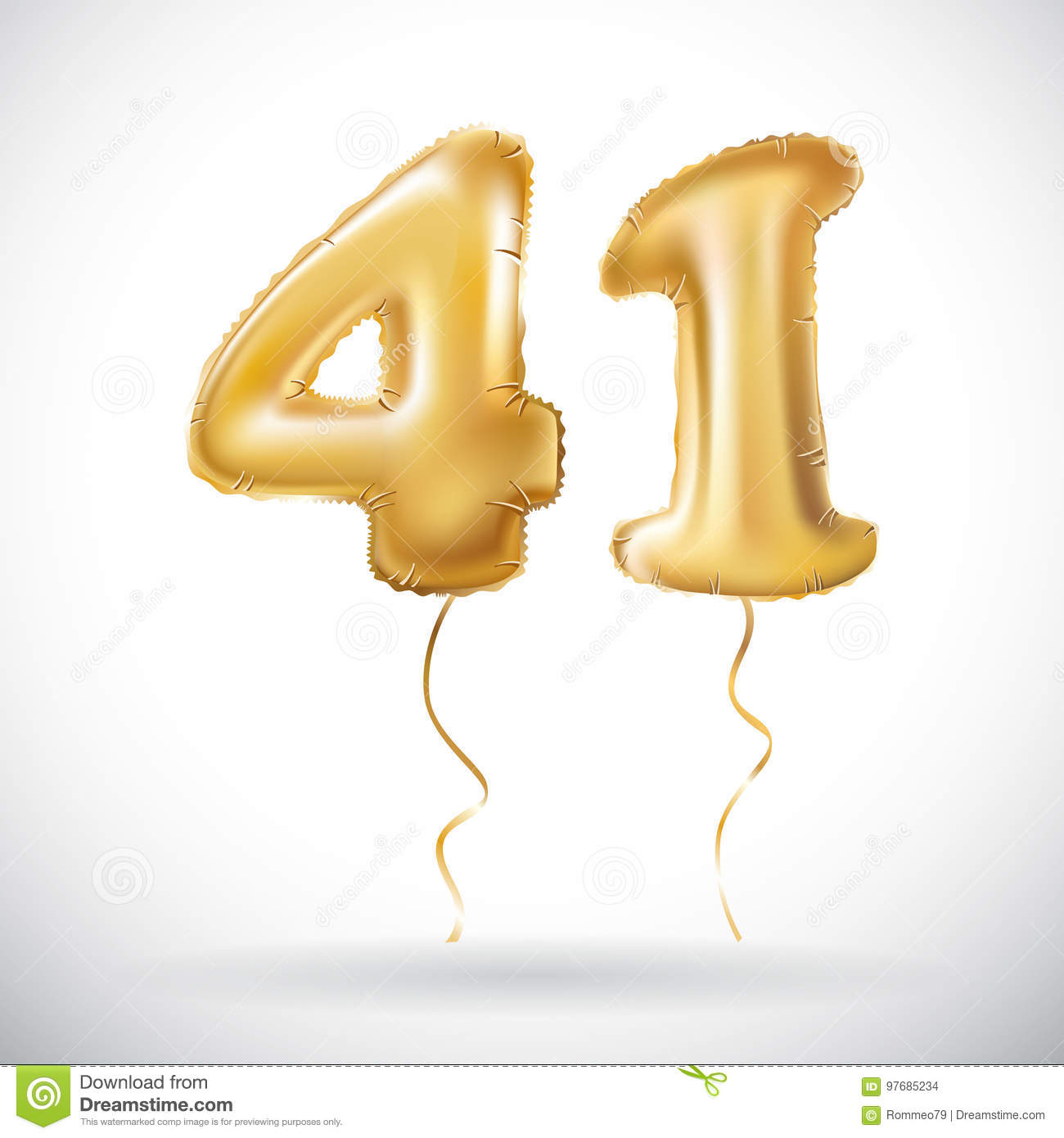 Vector Golden 41 number forty one metallic balloon. Party decoration golden  balloons. Anniversary sign