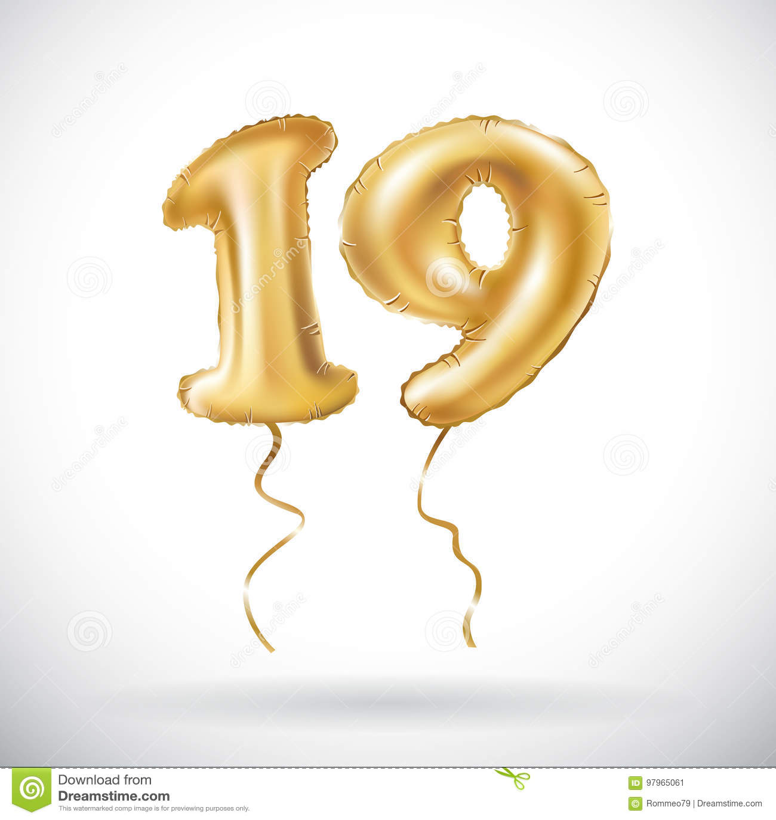Vector Golden Number 19 Nineteen Metallic Balloon Party Decoration