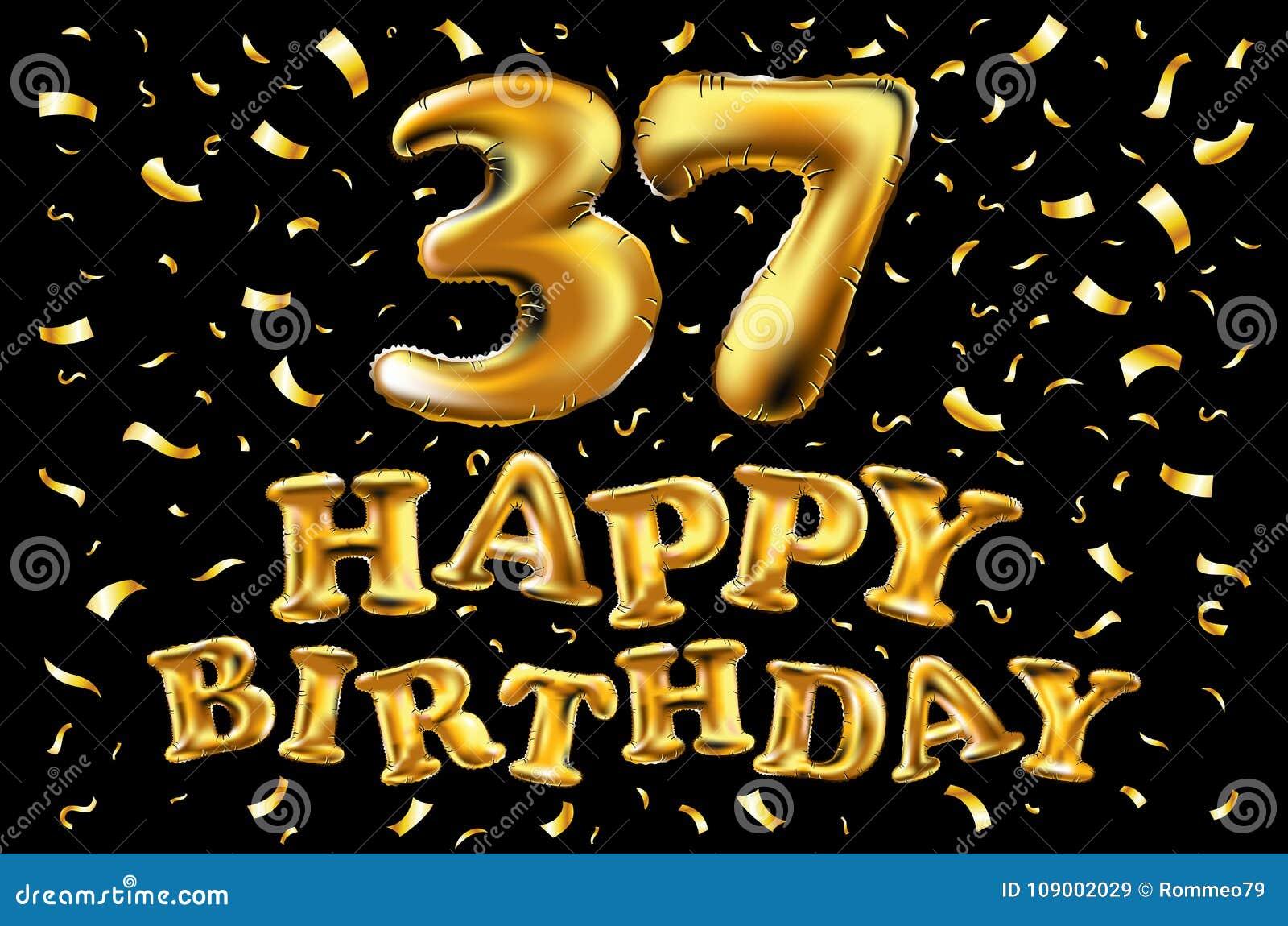 Vector Golden Number 37 Thirty Seven Metallic Balloon Party