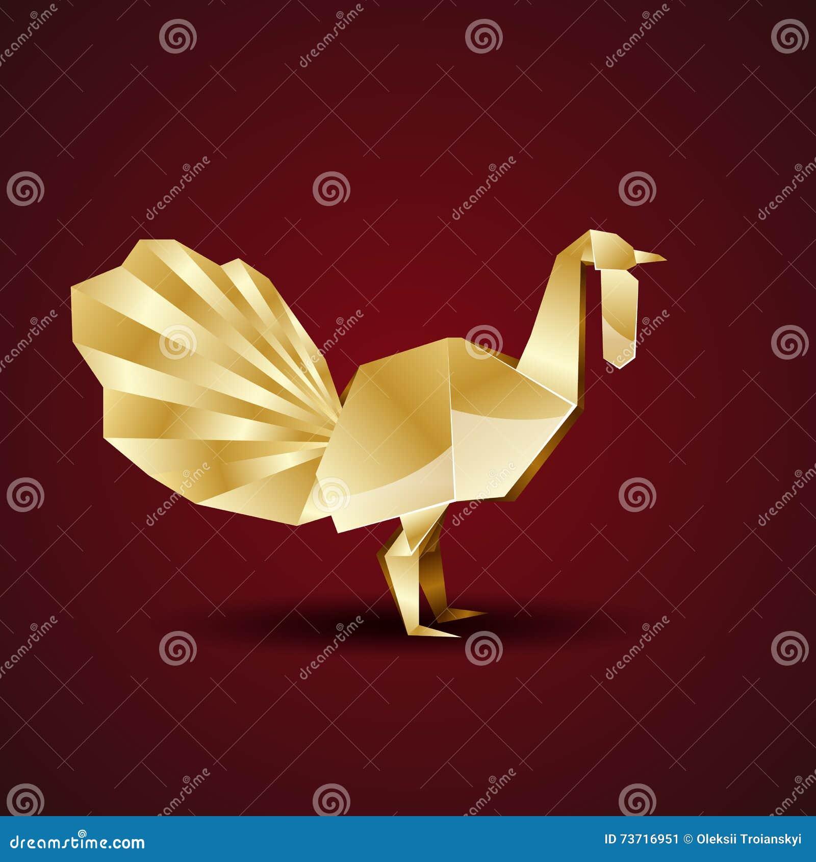 Vector Golden Origami Turkey Stock Vector Illustration Of Vector