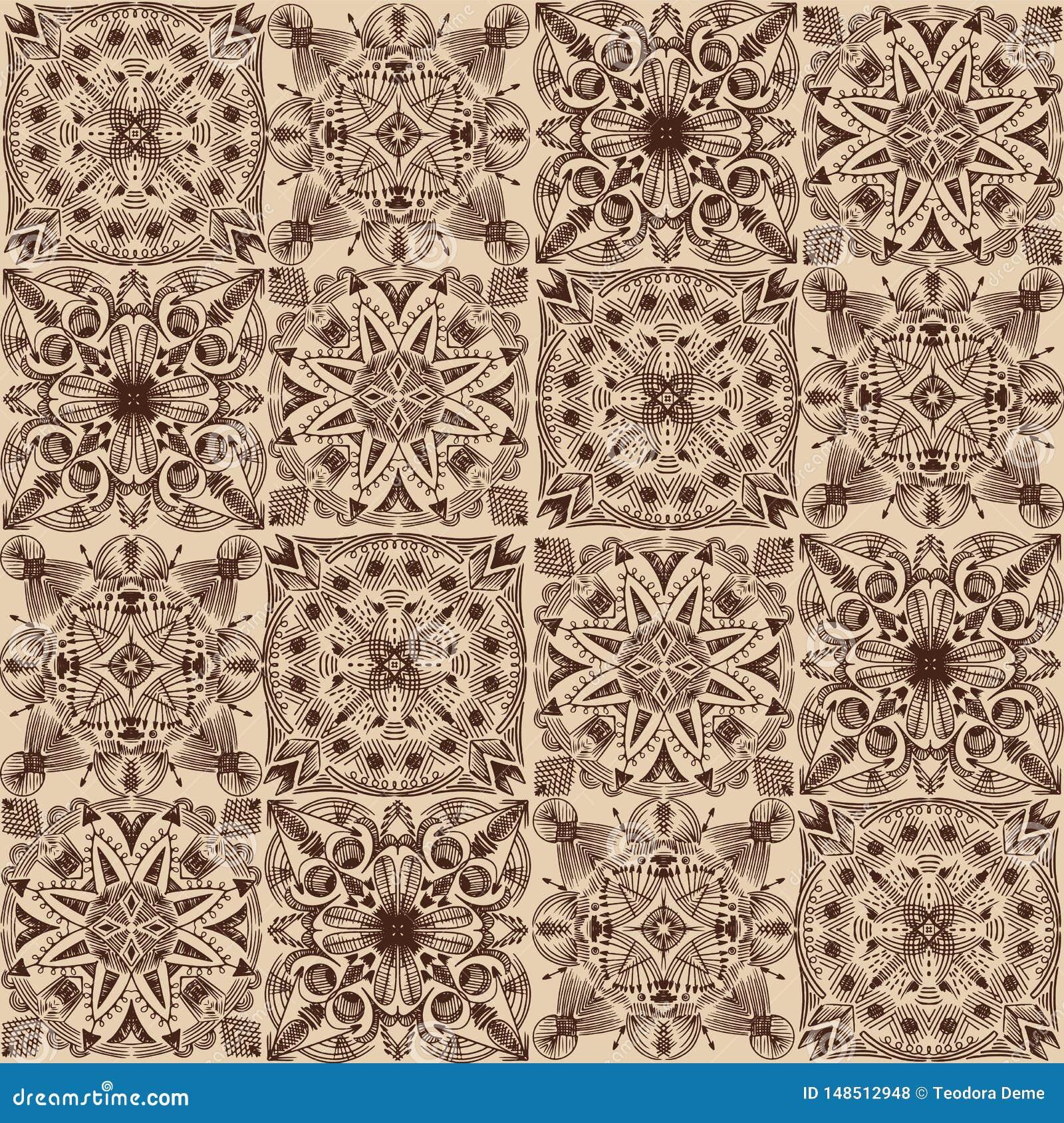 Vector golden tribal symmetric tiled seamless pattern on dark background.