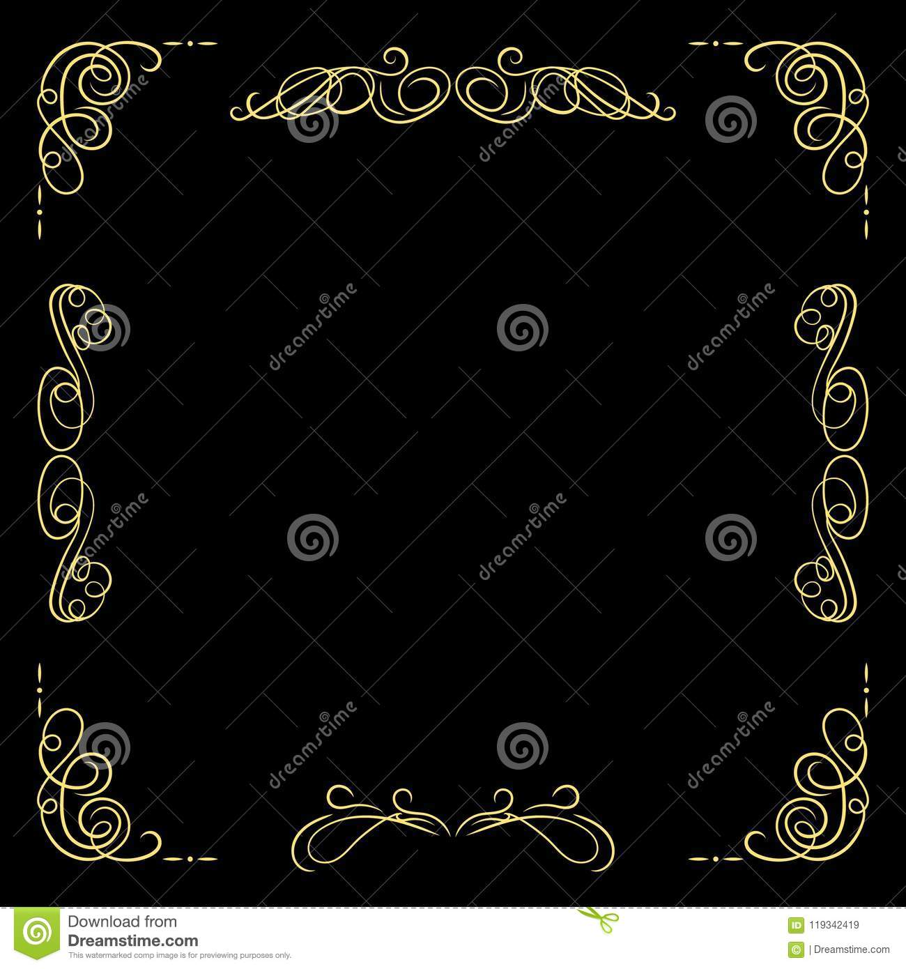 vector golden vintage frame template black background and gold
