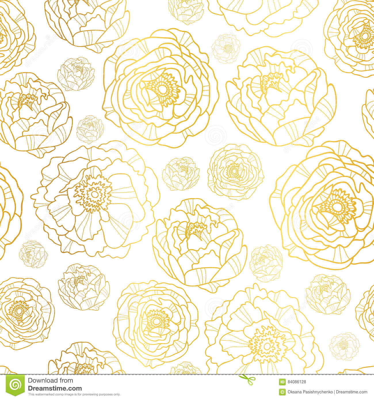 vector golden on white peony flowers summer seamless