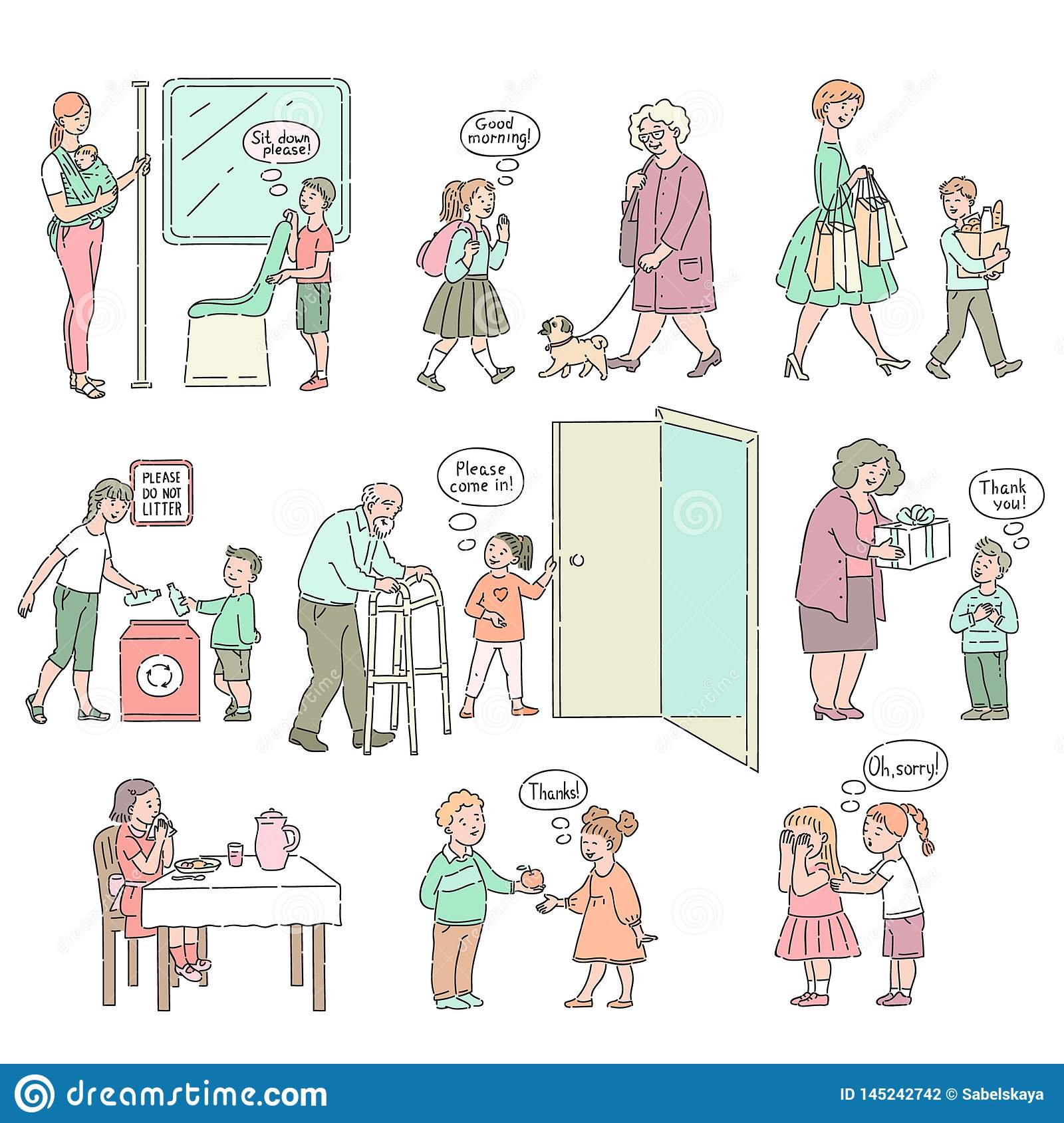 Vector Good Behaviour And Manners Of Kids Set Stock Vector ...