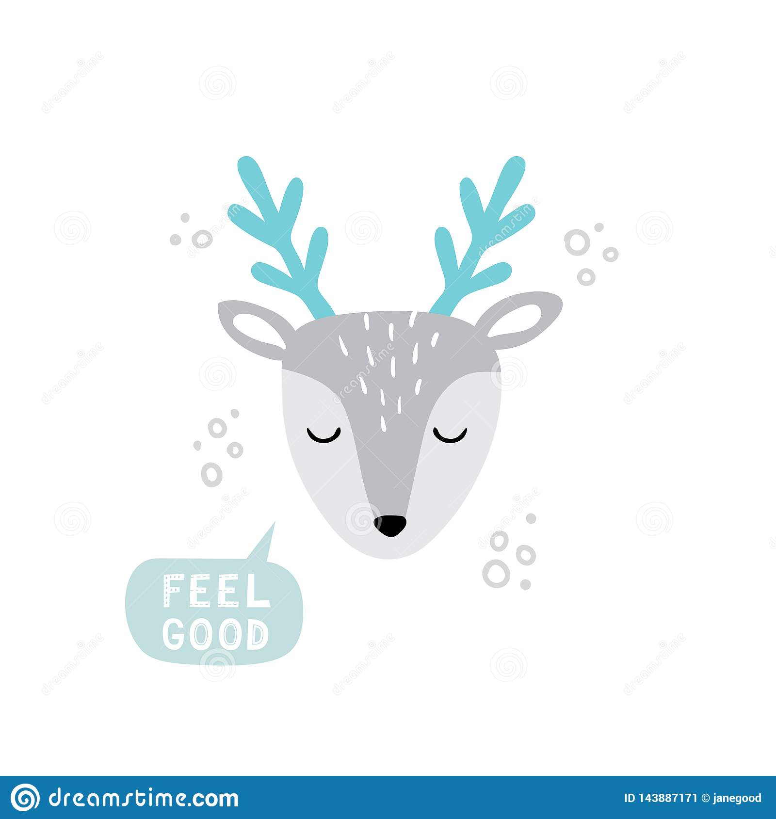 Cool Hand Drawn Deer Face Doodle Cartoon Illustration With