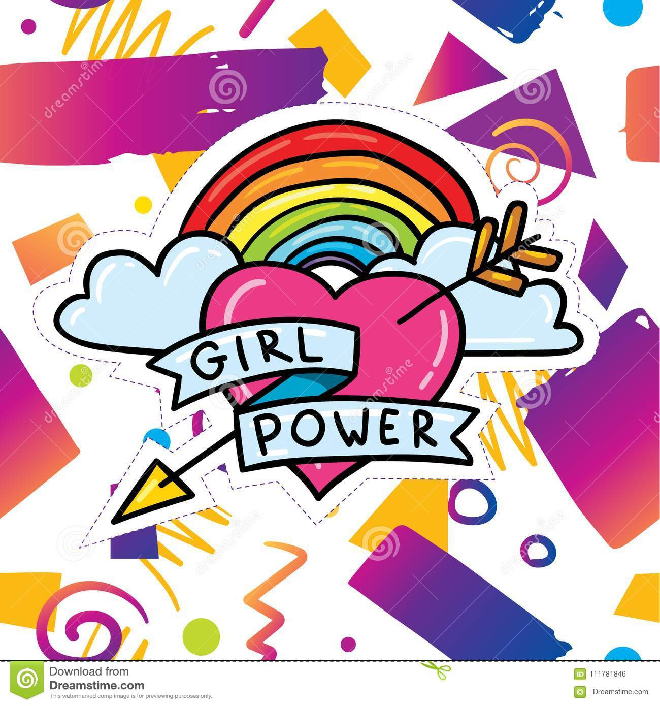 Trendy card design with girl power sticker