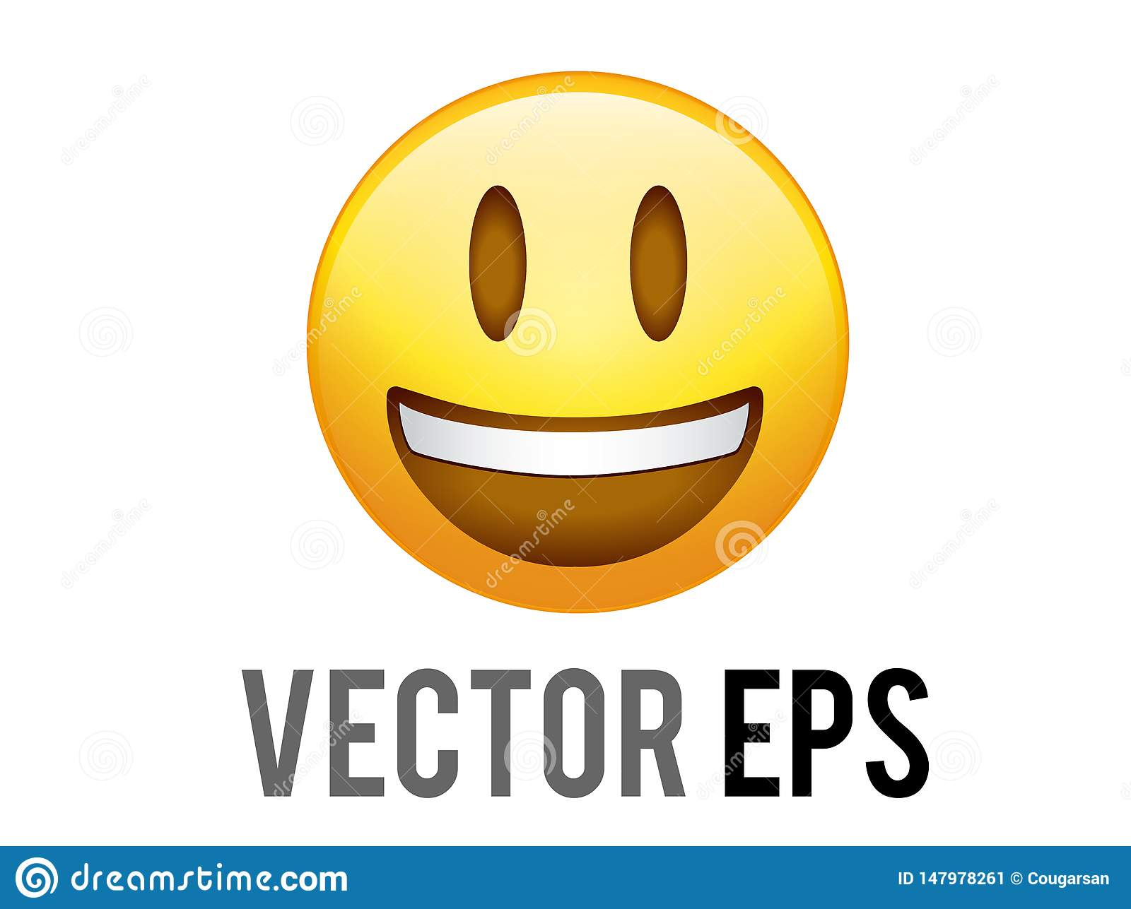 Vector gradient yellow smiley face with white teeth icon