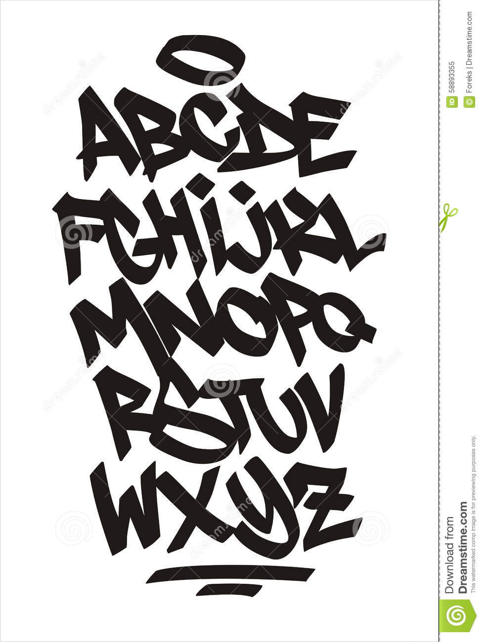 Vector Graffiti Font Handwritten Alphabet Stock