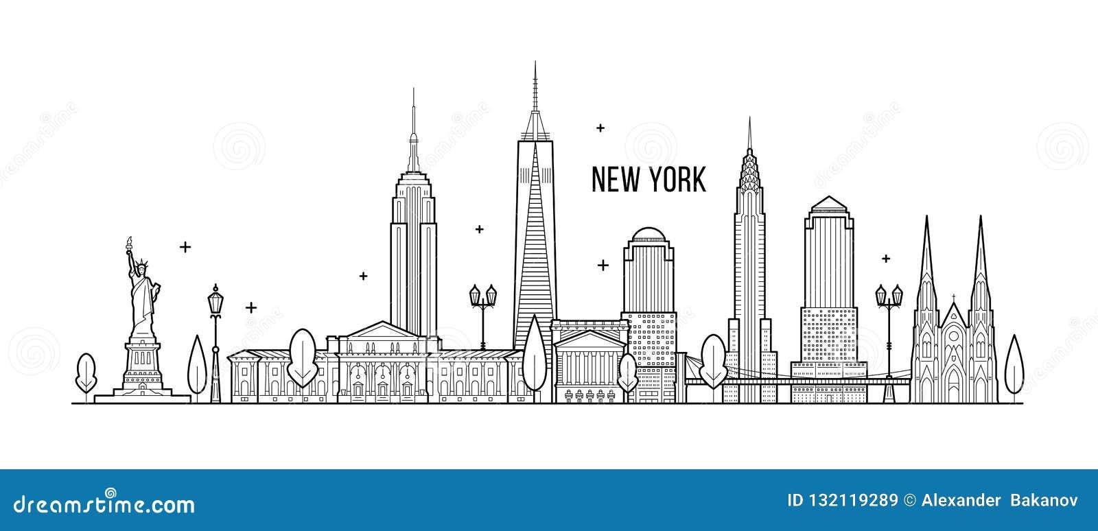 Vector grande de los edificios de la ciudad de los E.E.U.U. del horizonte de Nueva York