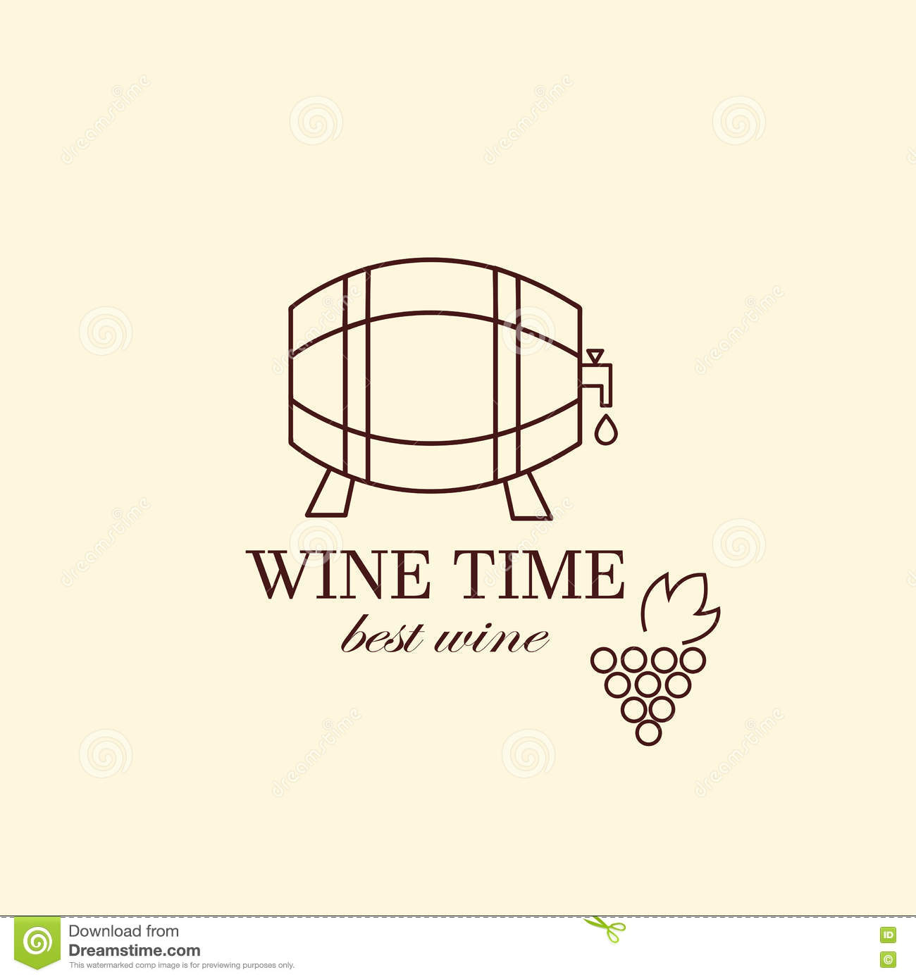 vector grape vine and wine bottles logo design template stock