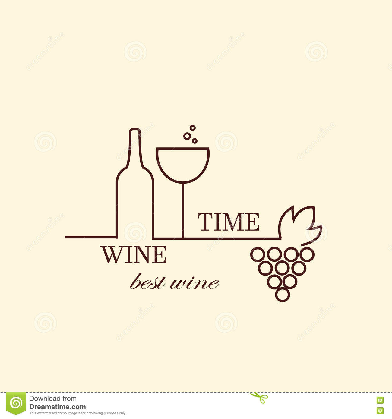 vector grape vine and wine bottles logo design template