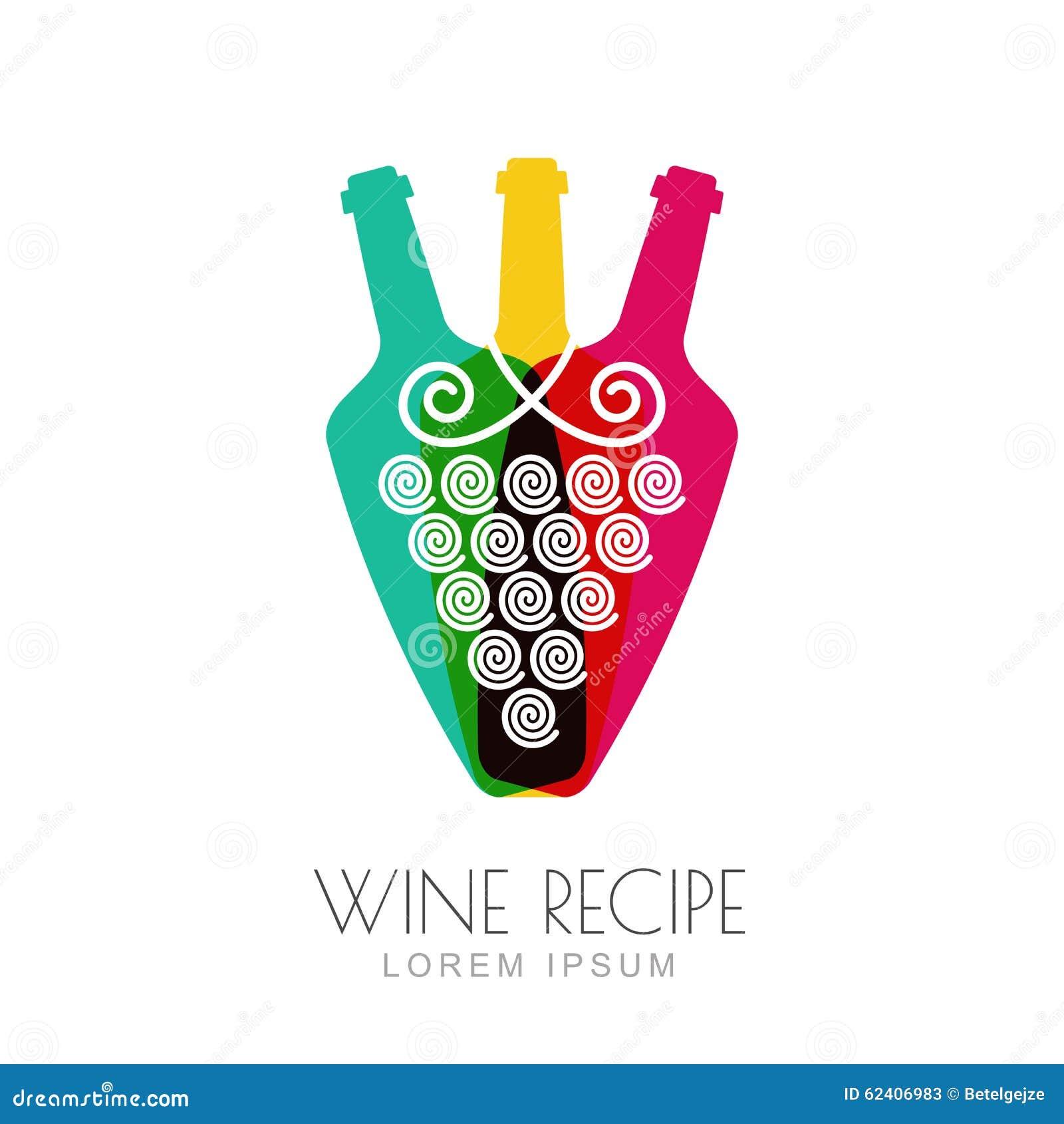 vector grape vine and wine bottles  negative space logo design stock vector