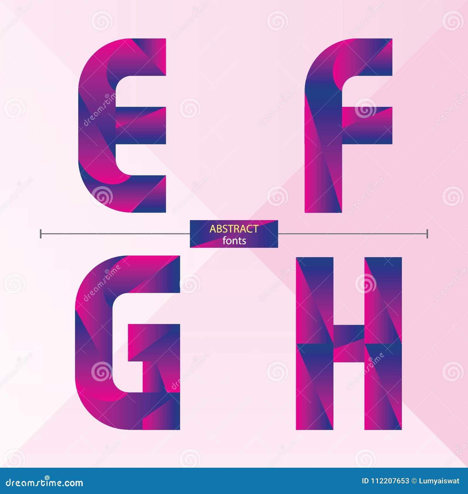 Alphabet Purple Color Geometric Style In A Set EFGH Stock Vector ...