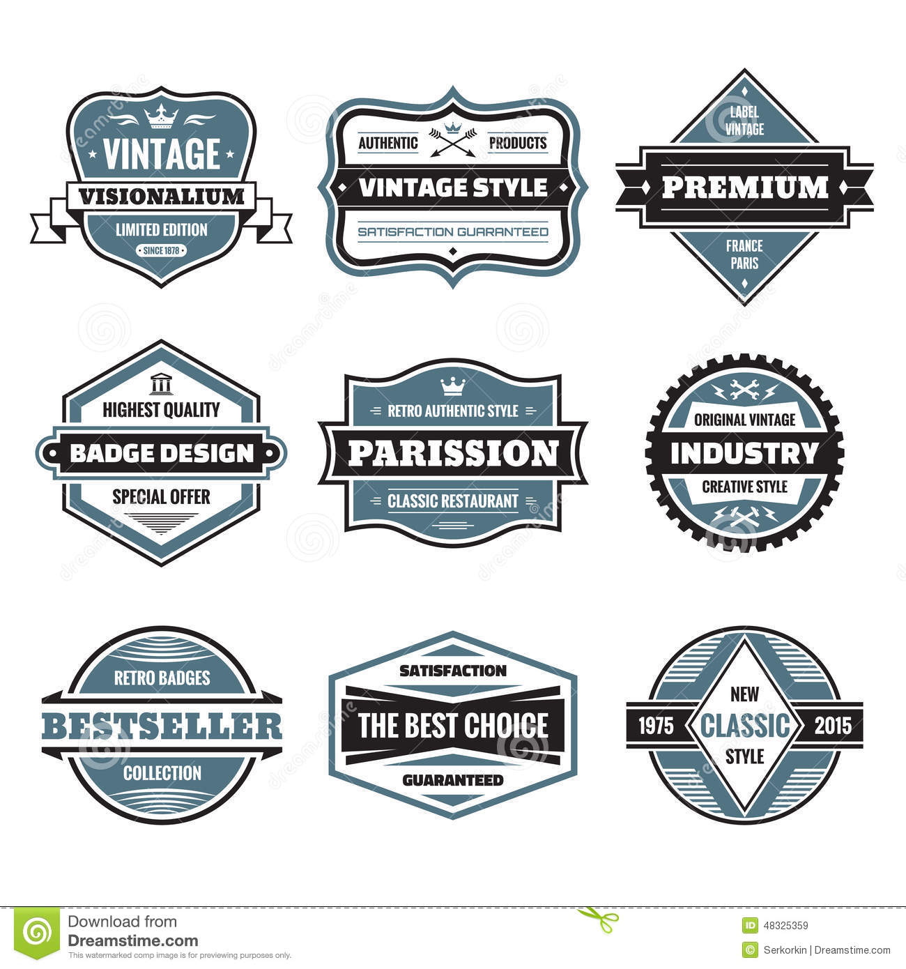Vector Graphic Badges Collection  Original Vintage Badges  Stock