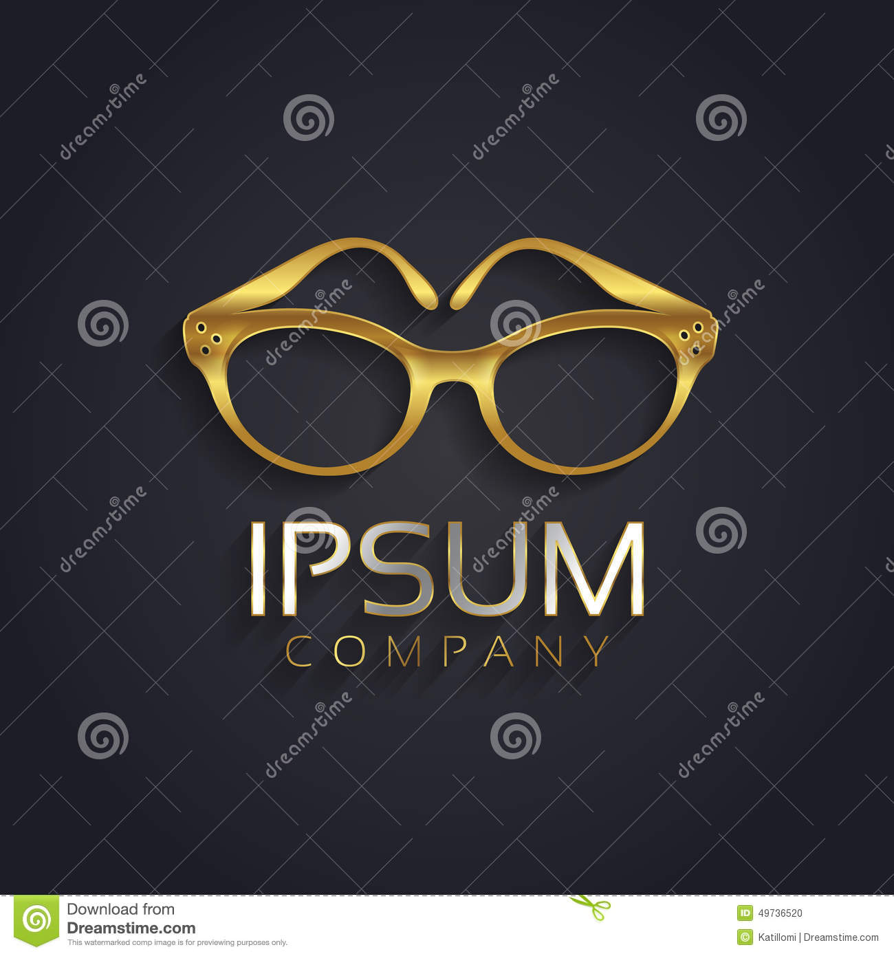 Vector Graphic Elegant Glasses Symbol For Your Company In Gold With