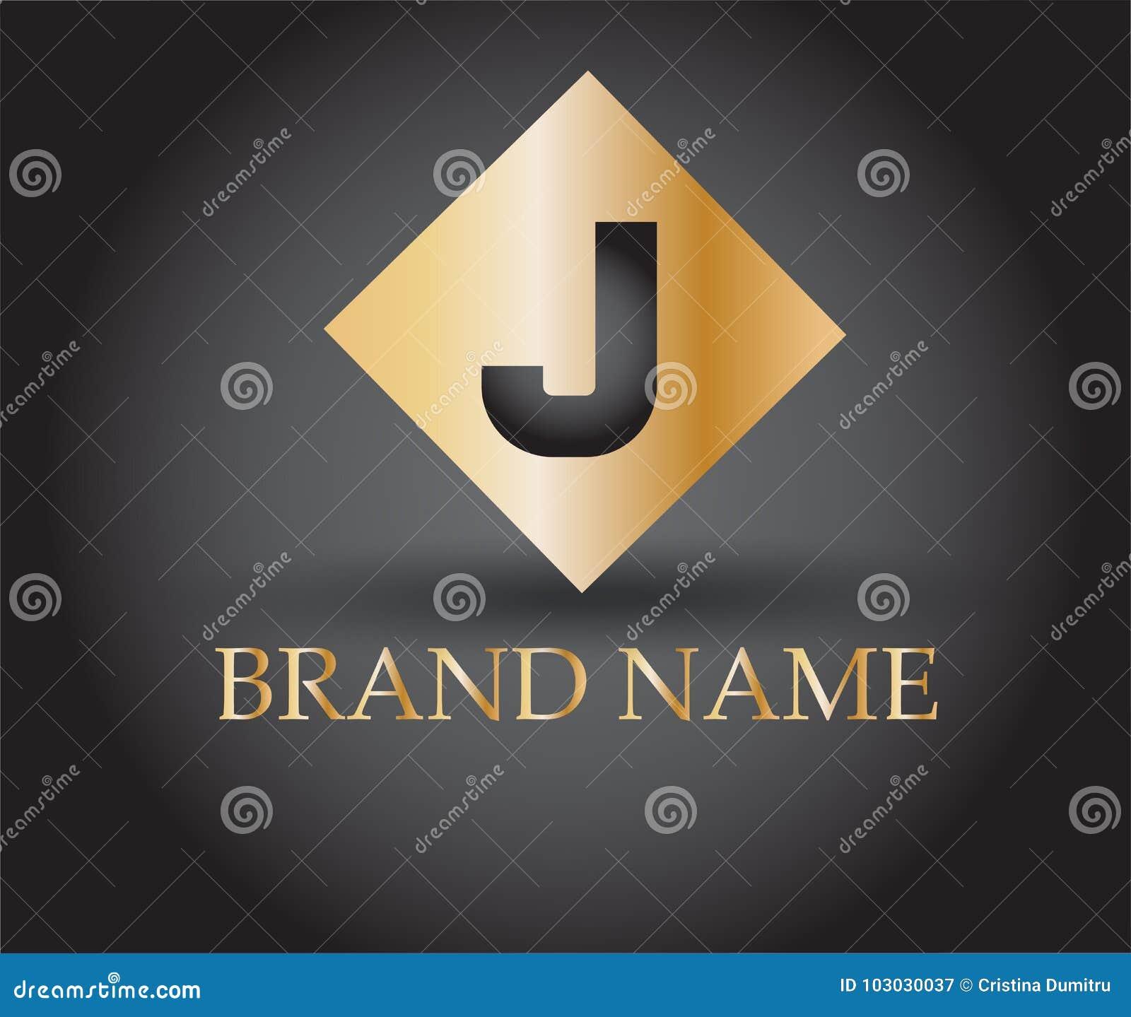 Vector Graphic Golden Square J Symbol Stock Vector Illustration Of