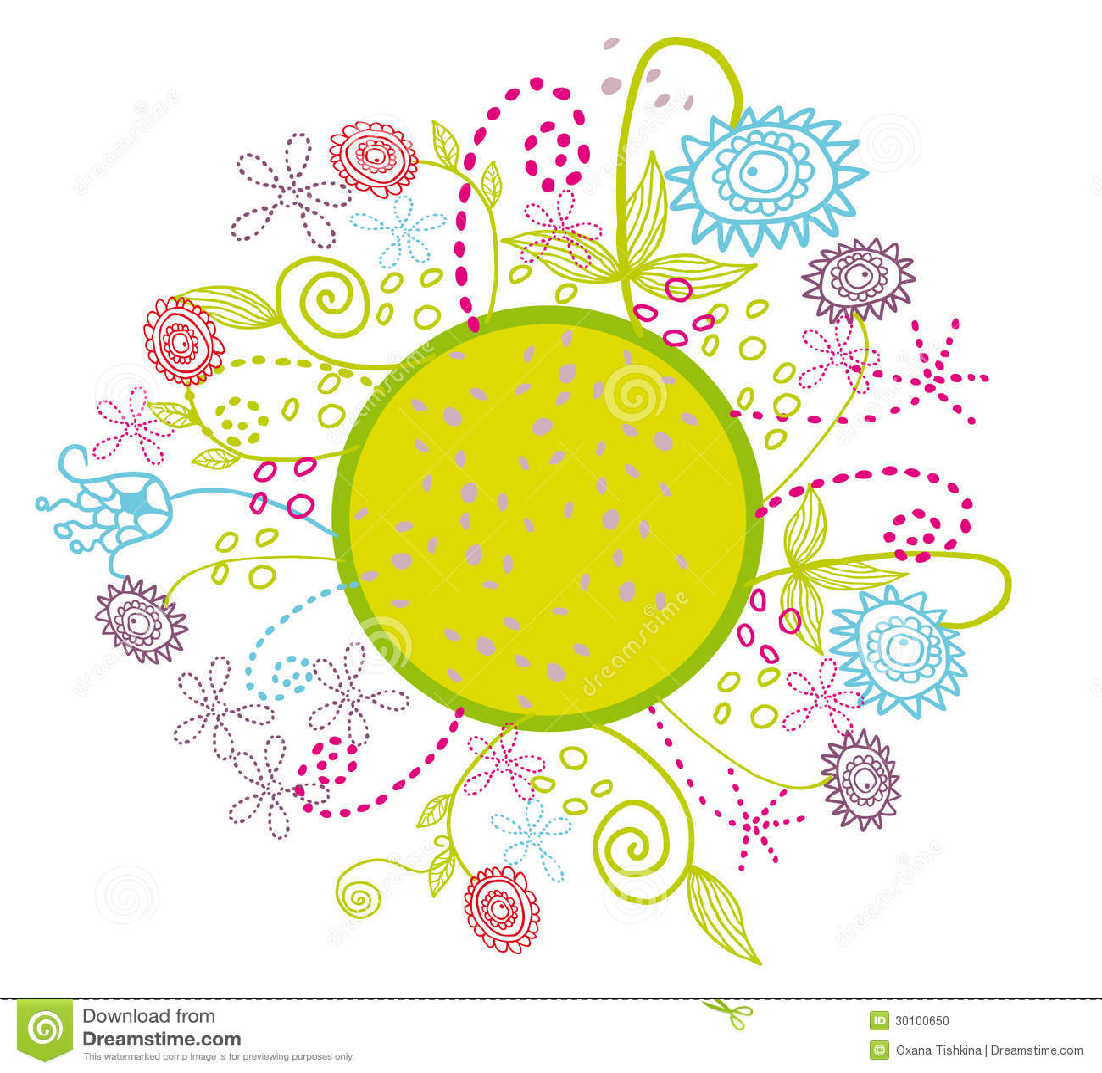 Beautiful garden cartoon - Beautiful Cartoon Circle Colorful Flowers Garden