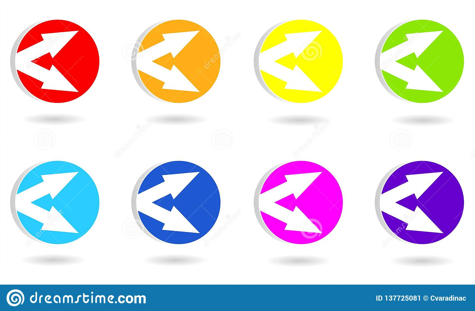 Set of circle icons or buttons with arrows.