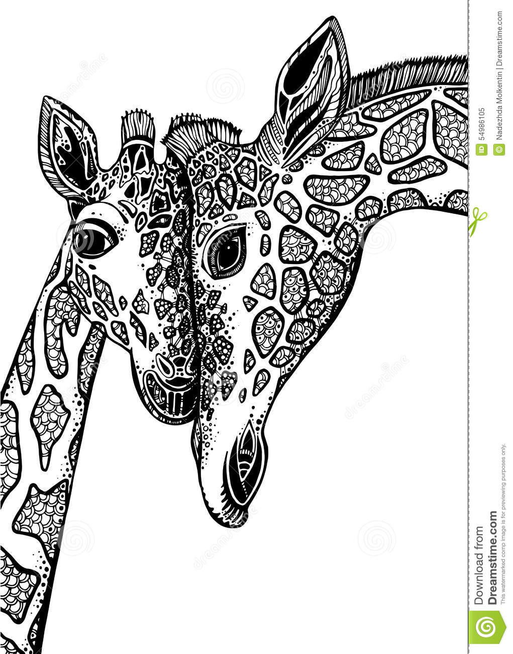 Vector graphic illustration with two giraffes in love - Black and white love pictures ...