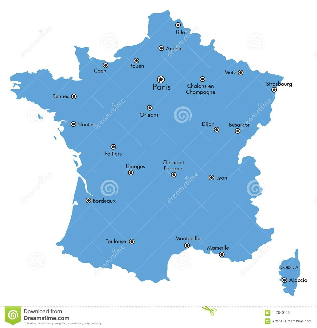 A Map Of France With Cities.Vector Map Of France Isolated With Major Cities Stock Vector