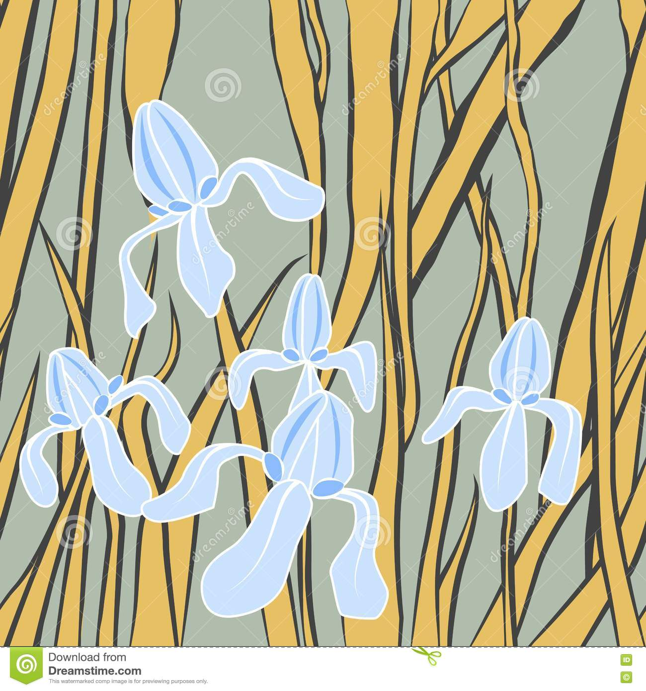Vector Graphic Stylized Image Of Iris Flower Illustration With