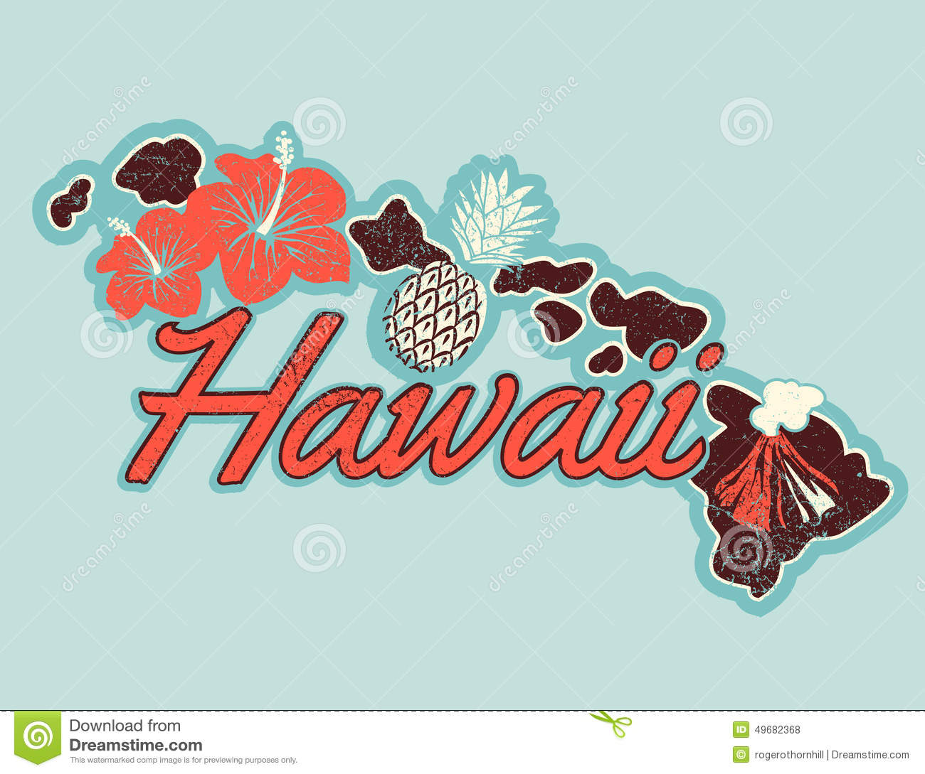 Vector graphic t shirt design of hawaii in retro style for Hawaiian graphic t shirts