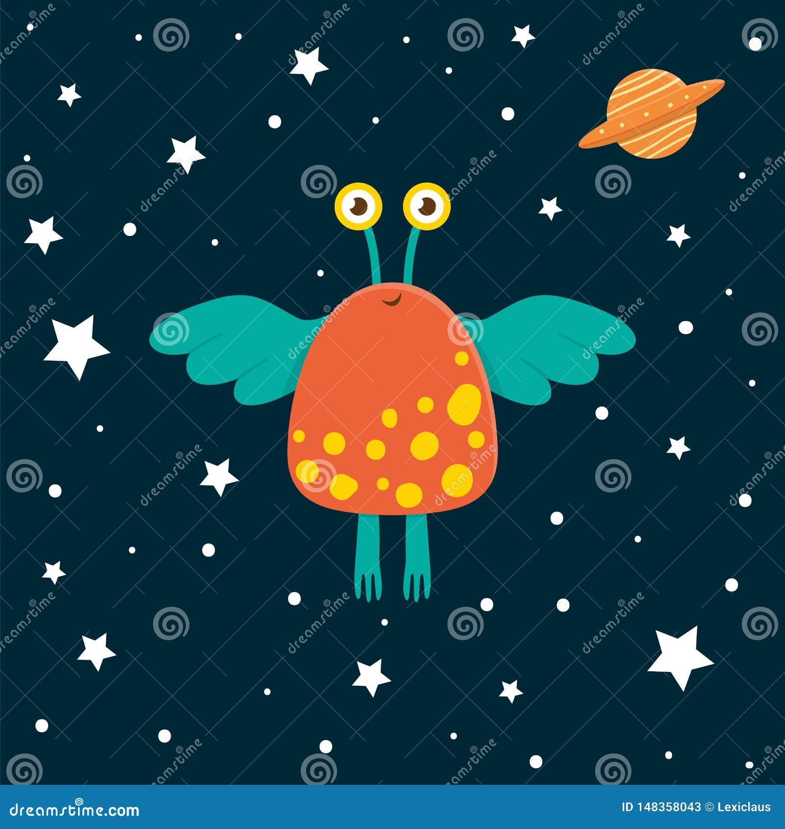 Vector grappige vreemdeling met ufo in ruimte en sterren