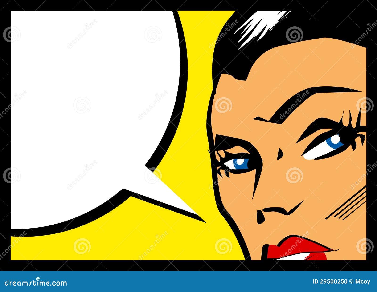 Vector grappige vrouw met toespraakbel