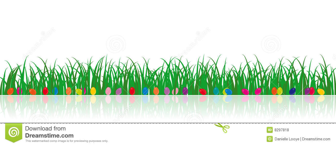 Vector Grass Illustration With Easter Eggs