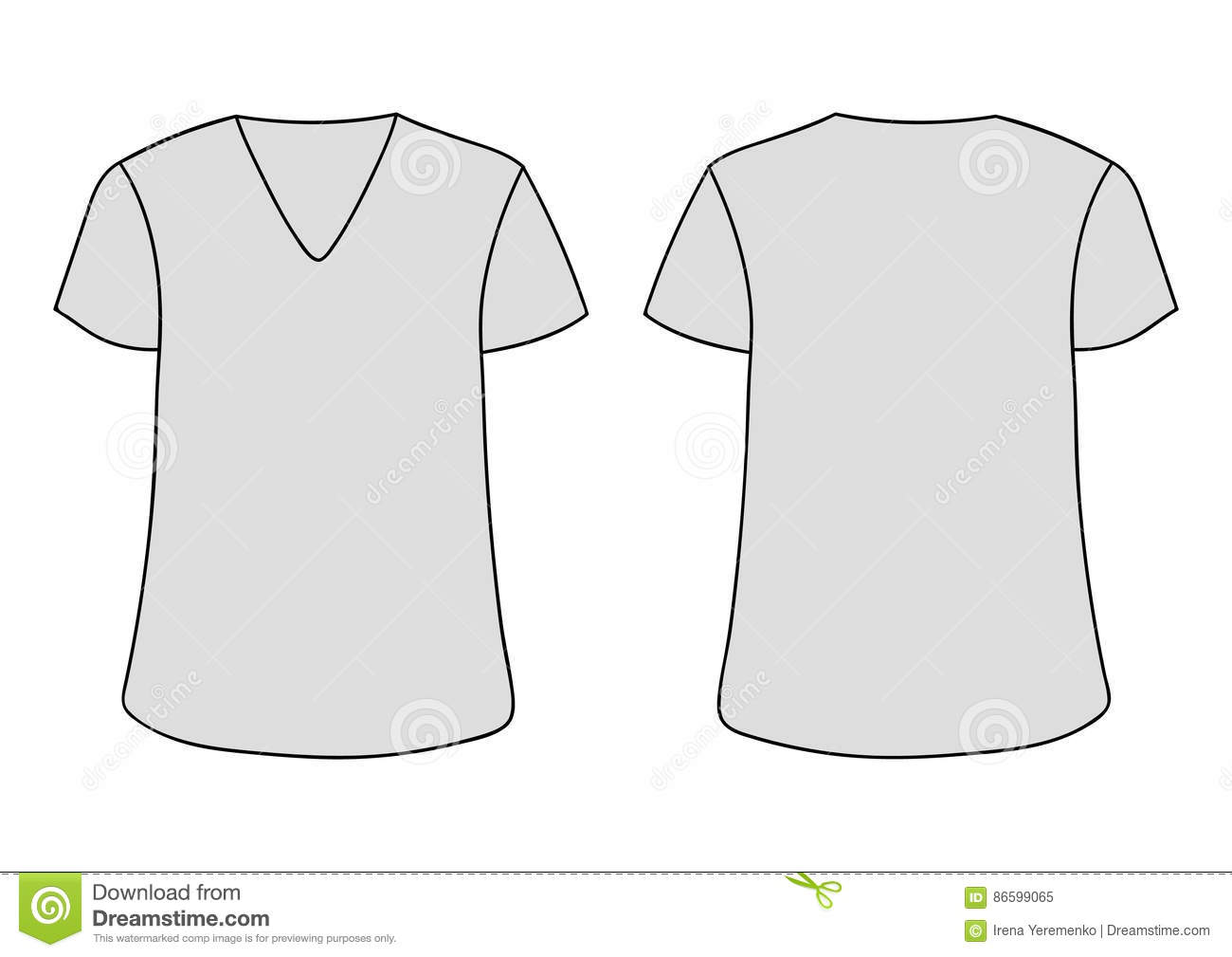 Vector Gray Unisex V Neckline T Shirt Template Front Back Sides Mock Up