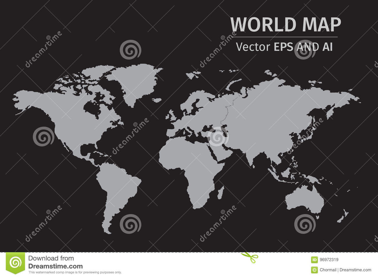 Vector gray world map on black background stock illustration vector gray world map on black background royalty free illustration gumiabroncs Images