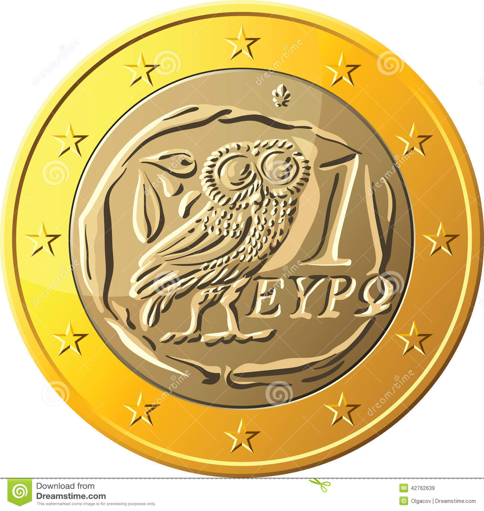 Vector Greek Money Gold Coin One Euro Featuring Owl Stock Vector