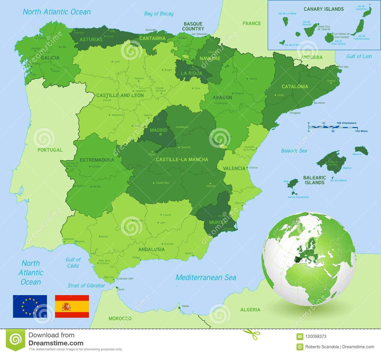 Map Of Spain Showing Catalonia.Vector Green Administrative Map Of Spain Stock Vector Illustration