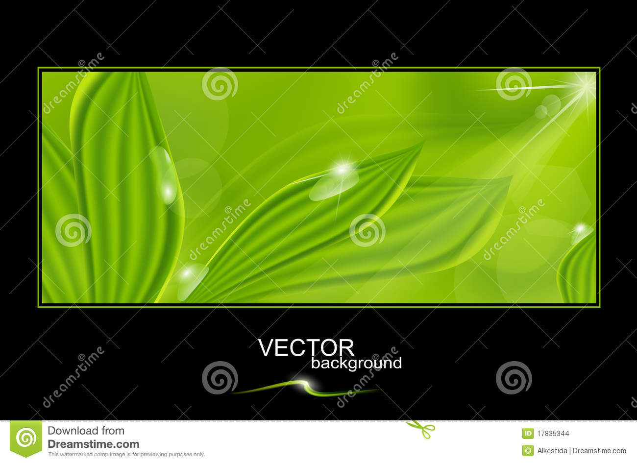 Vector green background with leaves and drops