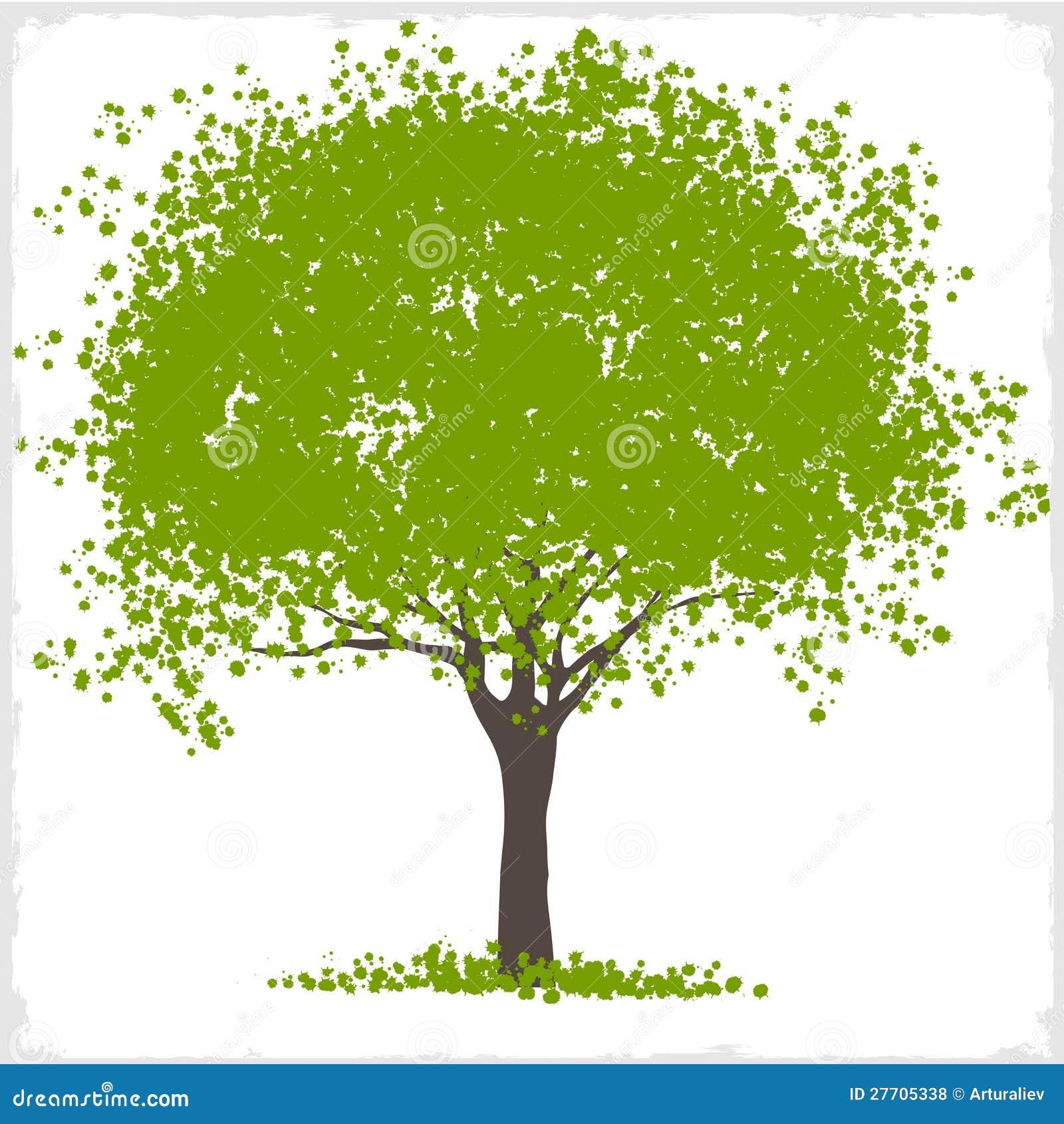 Vector Illustration Tree: Vector Green Blot Tree Stock Vector. Illustration Of