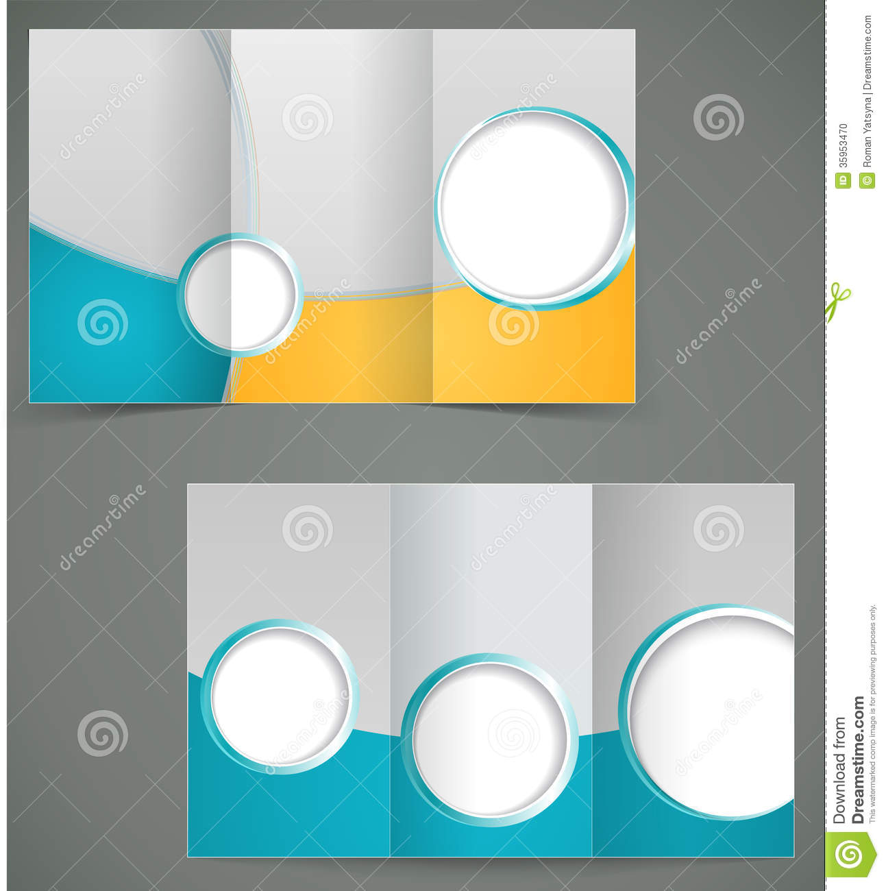 Vector Green Brochure Layout Design With Yellow El  Blank Brochure Templates
