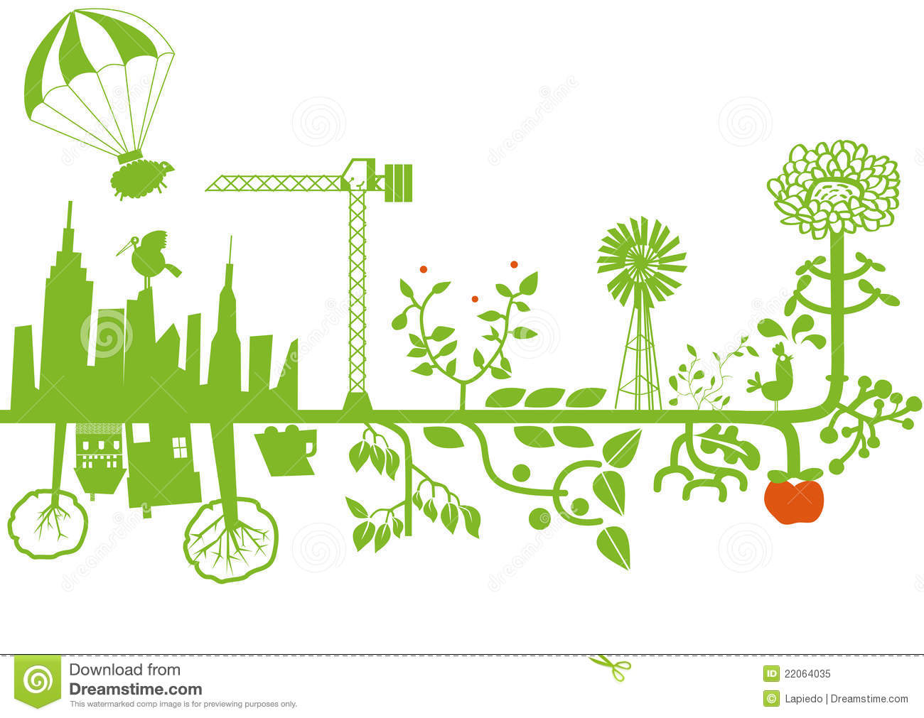 Vector Green City Under Construction Royalty Free Stock