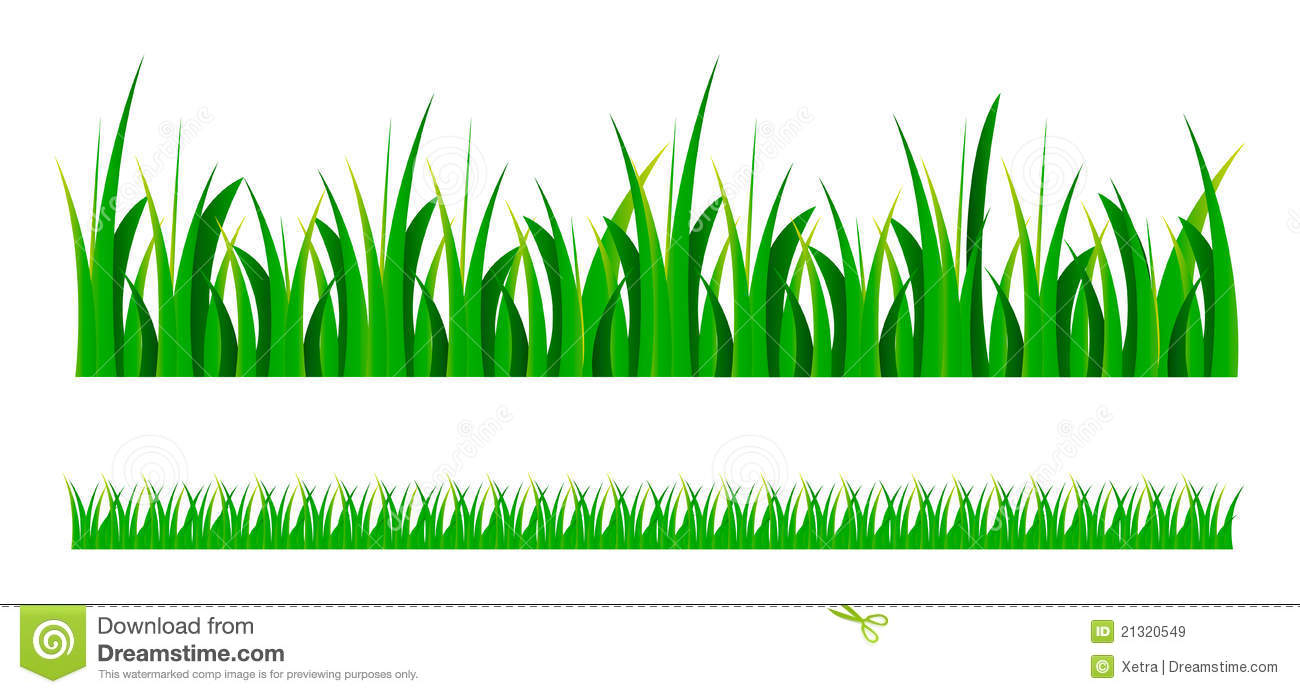 Vector set illustration of green grass isolated over white background