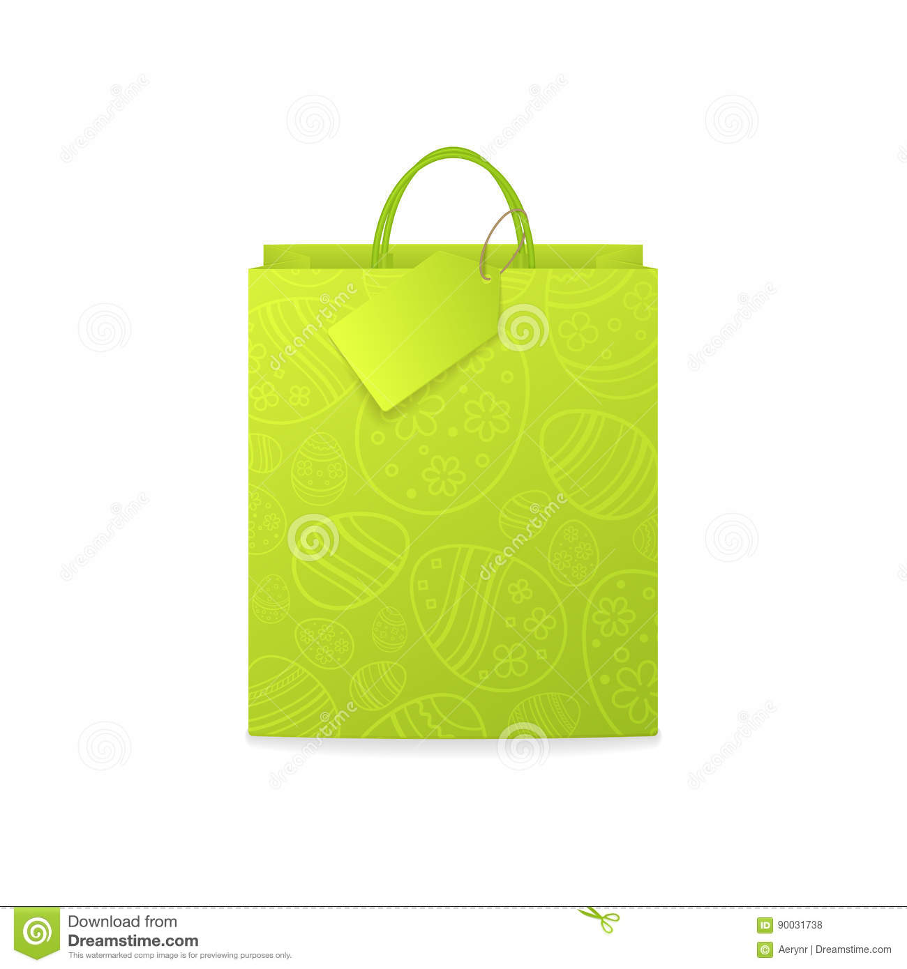 Vector green paper shopping bag with pattern of ornamental eggs download comp negle Images