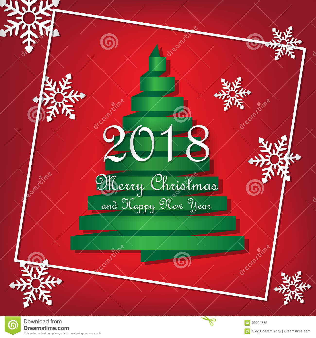 2018 merry christmas and happy new year template vector green ribbon christmas tree with snowflakes