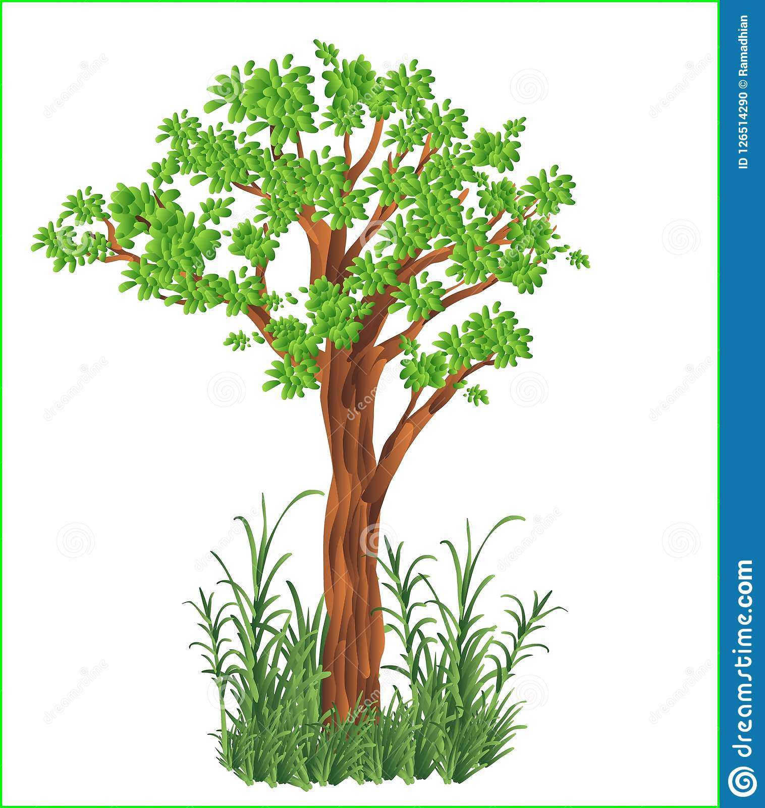 Vector Green Tree Grass Bushes Natural Fresh Garden Jungle Forest Stock Vector Illustration Of Nature Branches 126514290 Tree christmas for holiday, green pine with garland illustration. https www dreamstime com vector green tree grass bushes natural fresh garden jungle forest realistic cartoon clipart nature earth image126514290