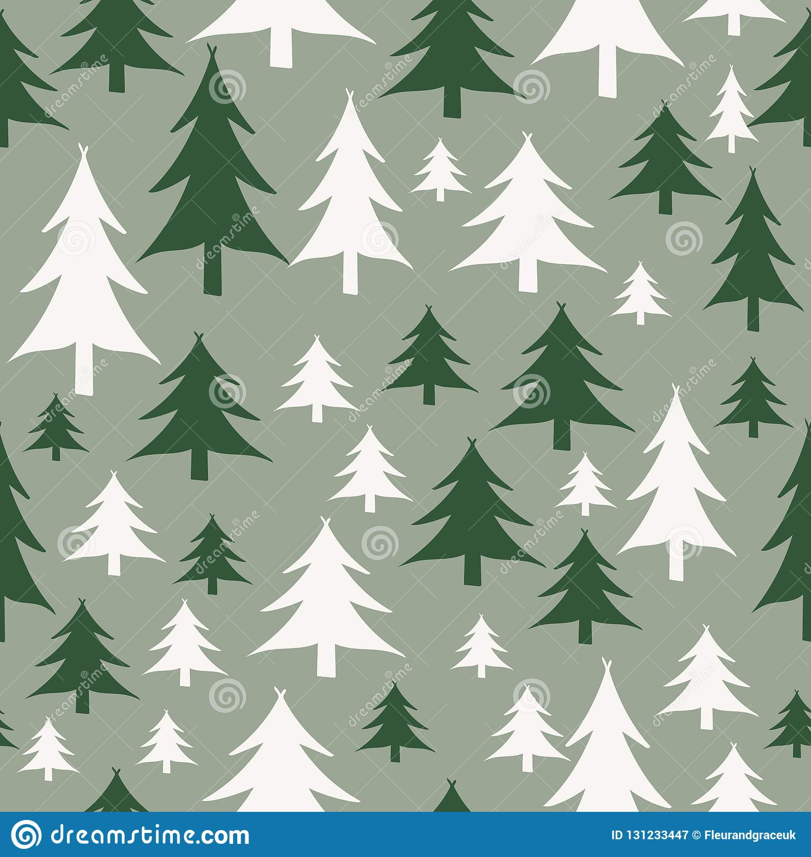 Green And White Christmas Tree: Green And White Christmas Trees Seamless Pattern Stock