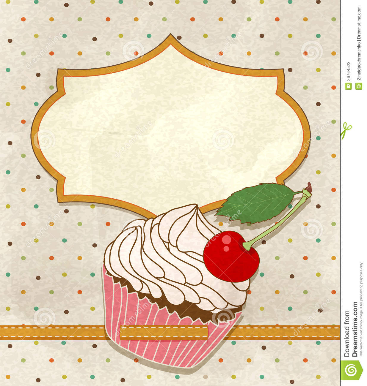 Vector Greeting Card With A Birthday Cake Stock Photos Image