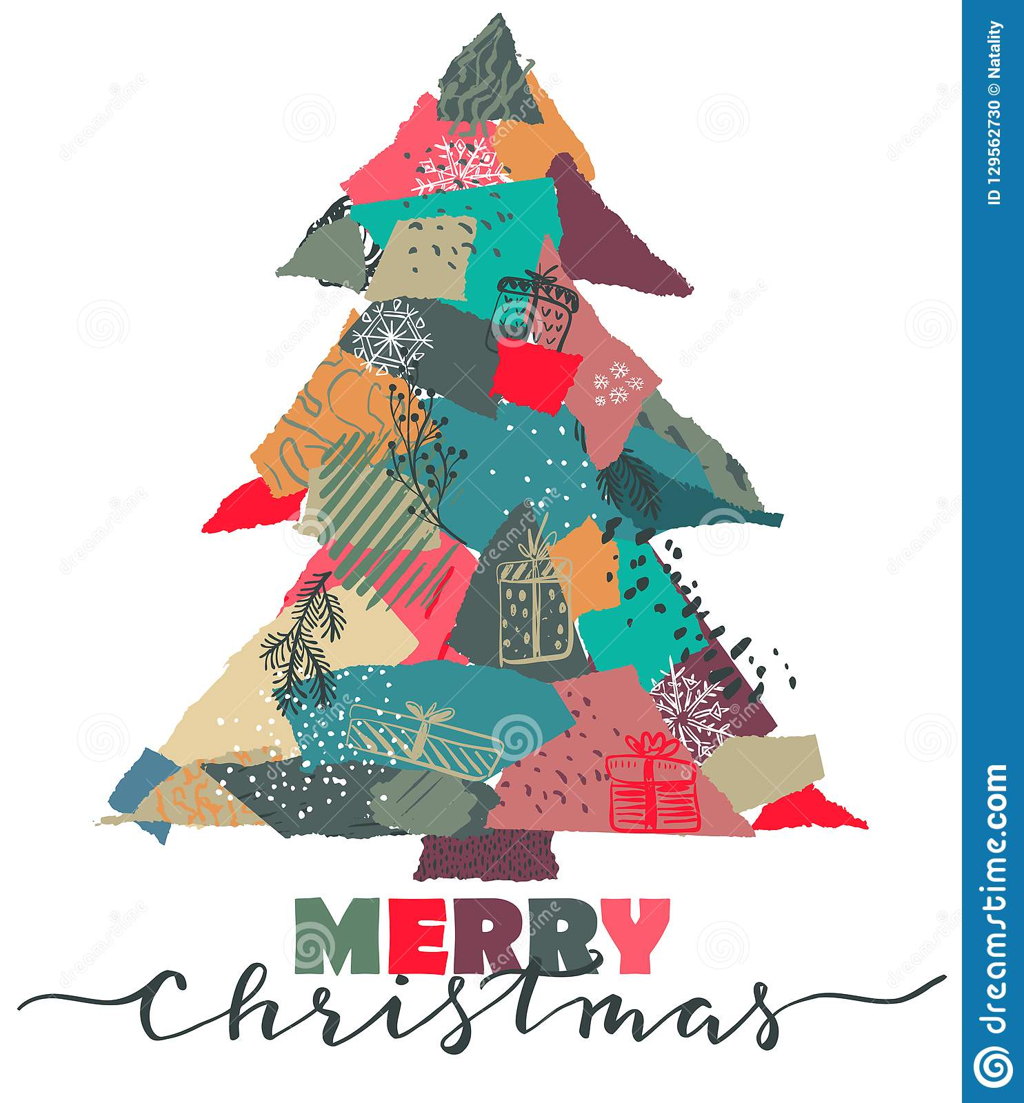 vector greeting card with christmas tree in patchwork