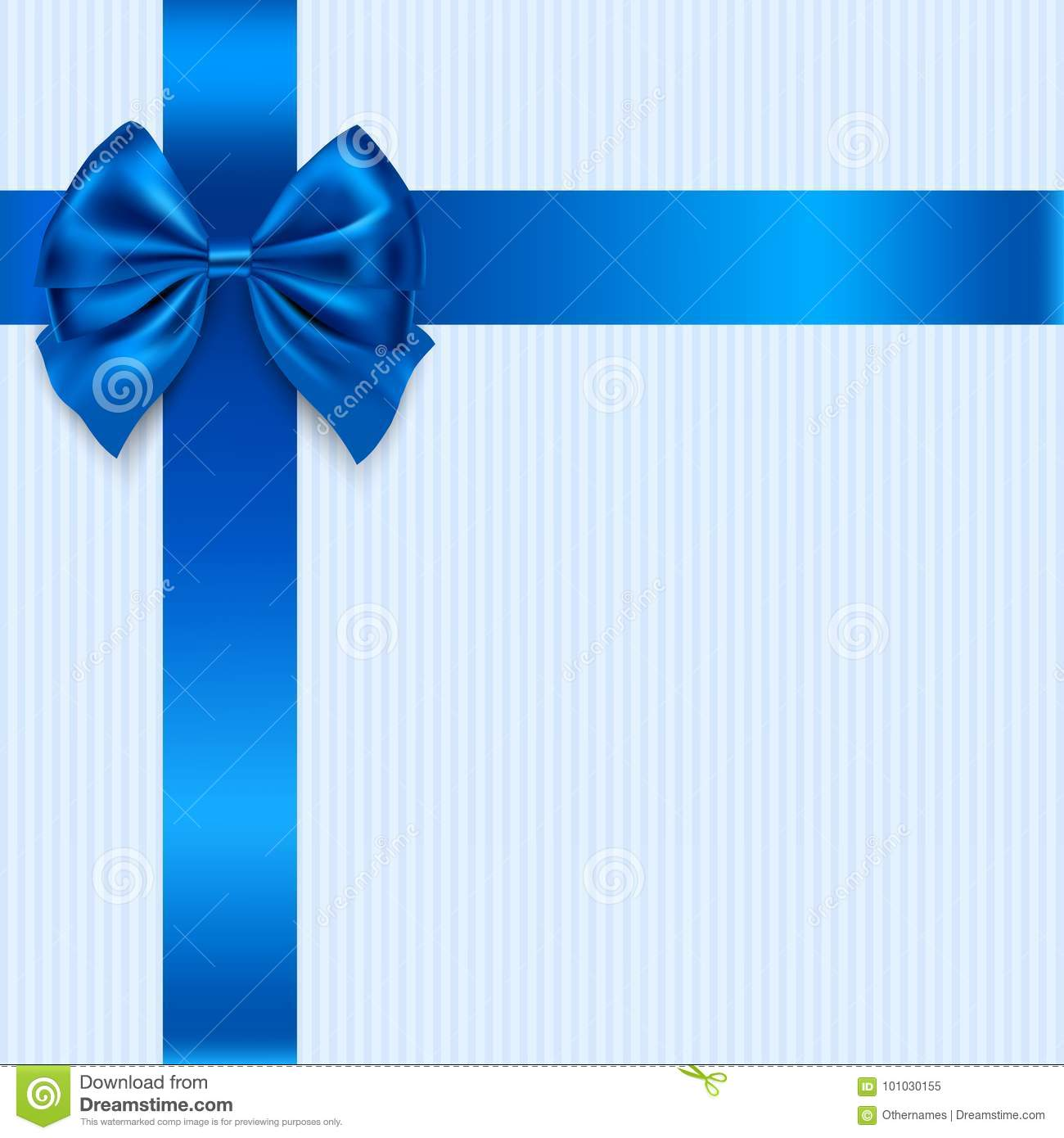 Vector Greeting Card Design With Blue Bow And Ribbon Holiday