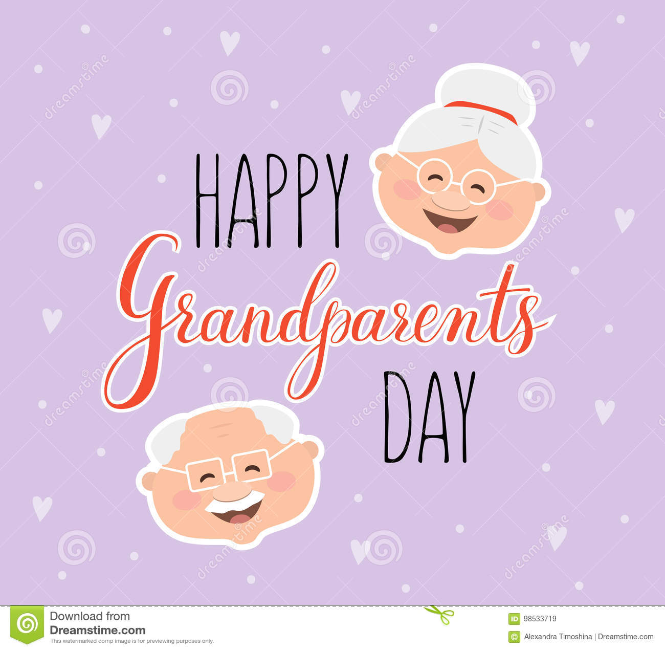 Vector Greeting Card Happy Grandparent Day Stock Illustration