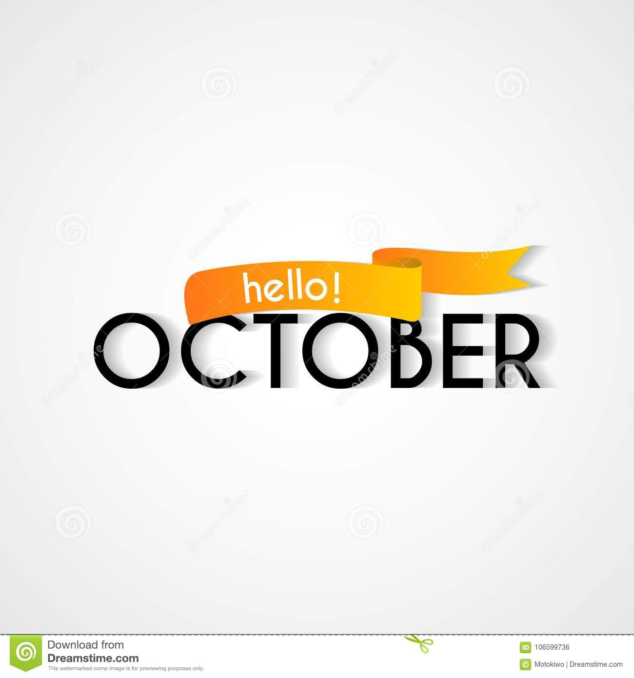 Happy New Month October Background Design Stock Vector